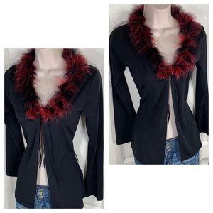 Vintage 90s Feather Boa Cardigan Jacket